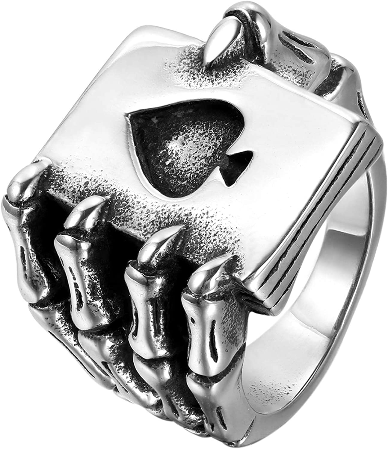 OIDEA Stainless Steel Bikers Gothic Skull Hand Claw Poker Card Ace Charm Ring Bands for Men Halloween Cosplay,Size