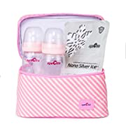 Spectra Baby USA - Baby Bottle Cooler Set for Insulated Breastmilk and Formula Storage, Pink - with Ice Pack and 2 Bottles - (Fits up to 6 Spectra 5.4oz/160mL Bottles)