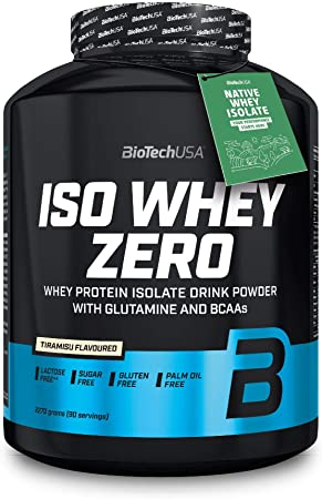 BioTechUSA Iso Whey Zero, aislado puro de proteína de suero, 2.27 kg, Tiramisu