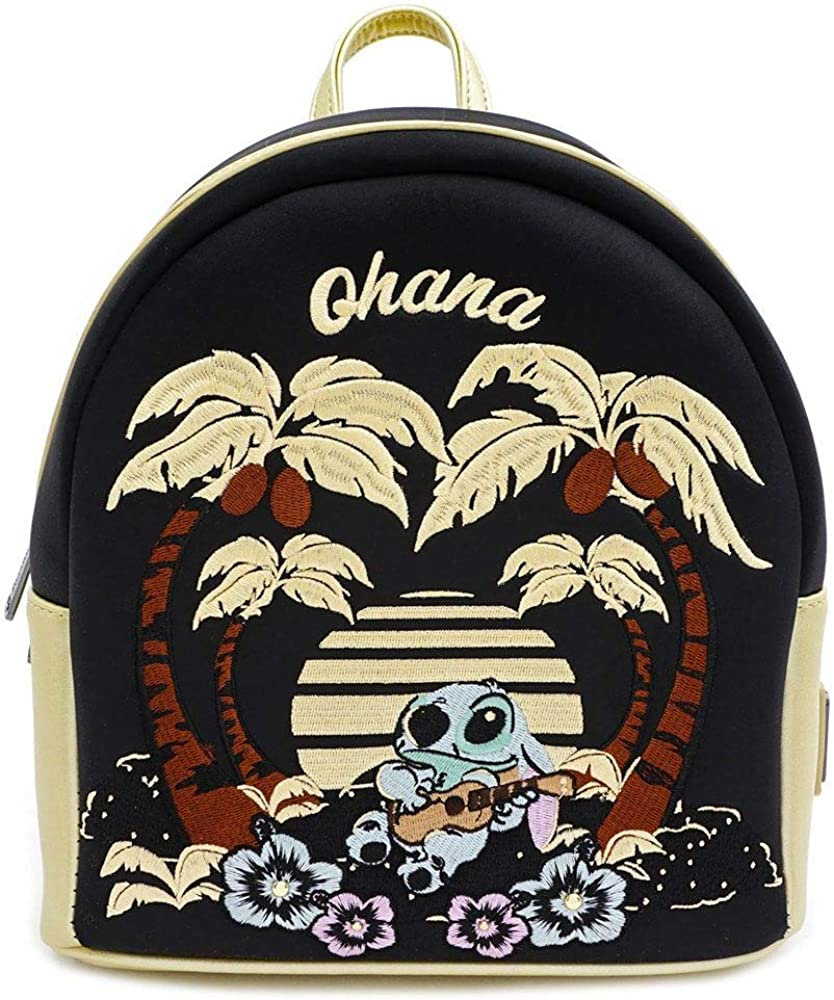 Loungefly Disney Stitch Satin Mini Backpack w Faux leather