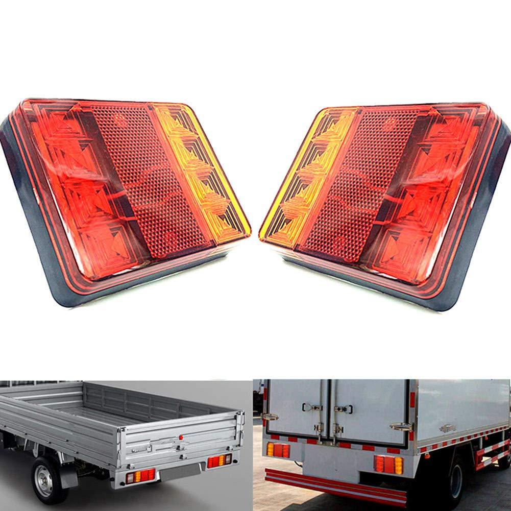 2 phares ronds universels Qiorange avec 24 LED et ré flecteur, 12 V en CC, é clairage arriè re, feux de freinage, pour vé hicule, camion, remorque, moto 12V en CC éclairage arrière pour véhicule