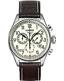 Junkers 61865 - Reloj cronógrafo de cuarzo para hombre con correa de piel, color negro