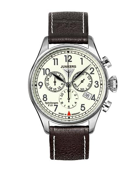 Junkers 61865 - Reloj cronógrafo de cuarzo para hombre con correa de piel, color negro: Junkers: Amazon.es: Relojes