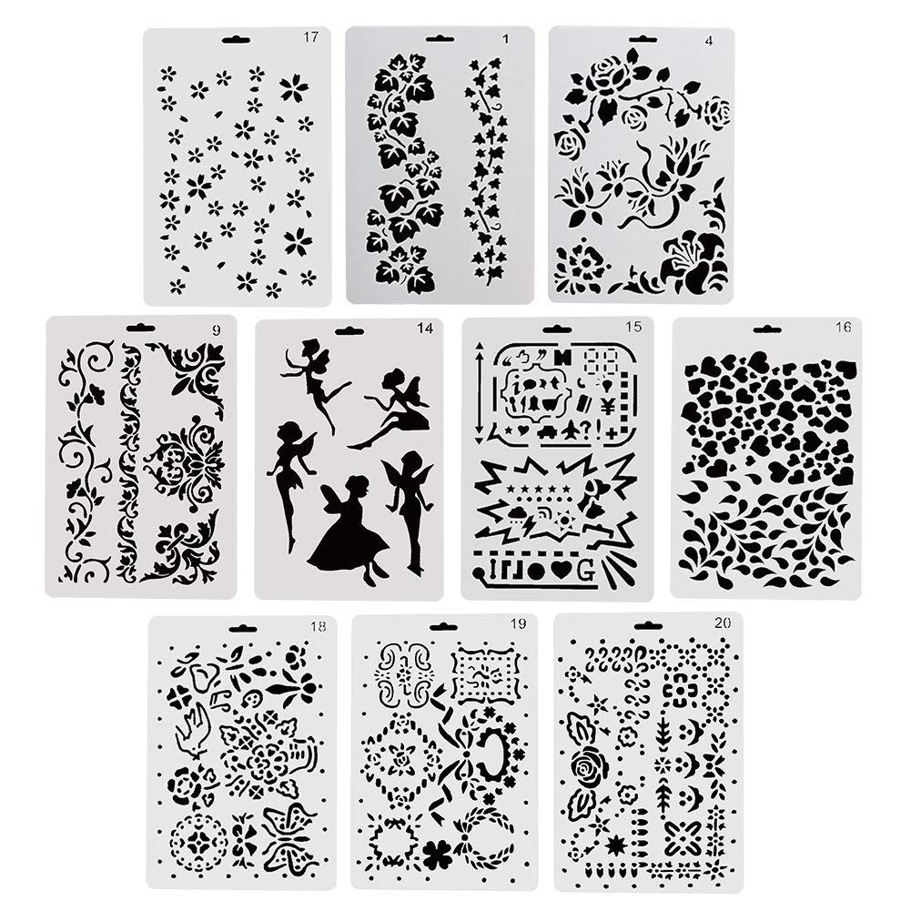 CCMART Plantillas de plástico para Dibujar y Pintar, Juego de 10 con ...