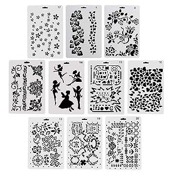 ccmart plástico dibujo plantillas de pintura, Set de 10 con ...