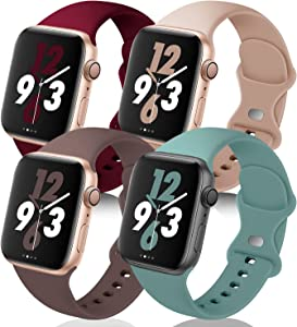 QRose Bands Compatible with Apple Watch 38mm 40mm 42mm 44mm, 4 Pack Replacement Soft Silicone Sport Strap for iWatch SE Series 6/5/4/3/2/1, Wine Red/Milk Tea/Smoke Violet/Cactus 38mm/40mm S/M