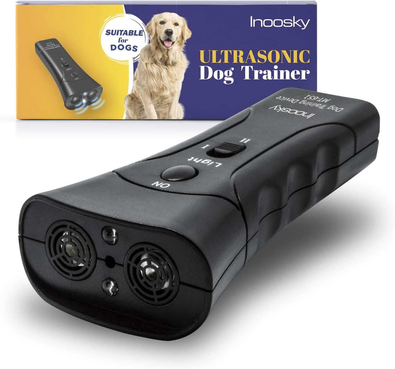 Inoosky Anti Barking Handheld Barxbuddy Ultrasonic Dog Trainer Device - Electronic Dog Deterrent/Training Tool/Stop Barking