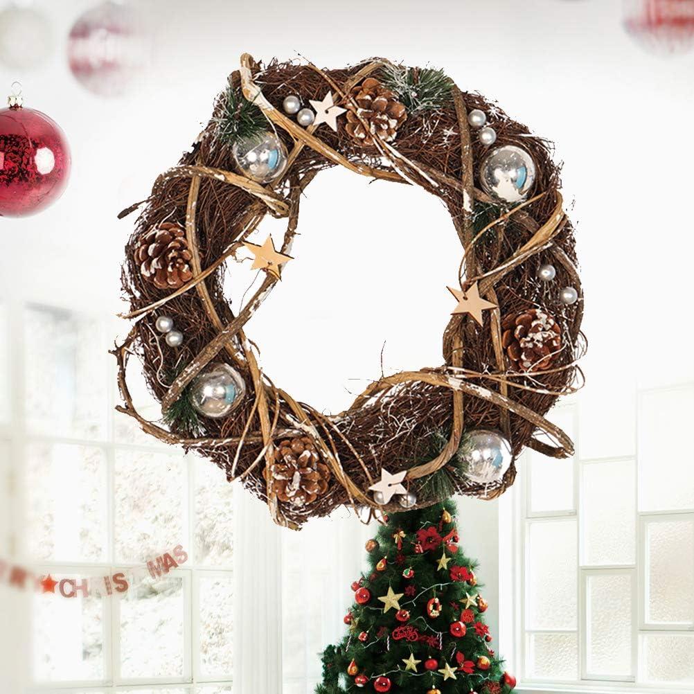 Amosfun Puerta de Navidad Corona Vides Adornos de Madera Guirnalda de Navidad Entrada del Porche de Entrada Decoración de la Escalera (35 cm) - Boda Navidad Decoración del día de San Valentín:
