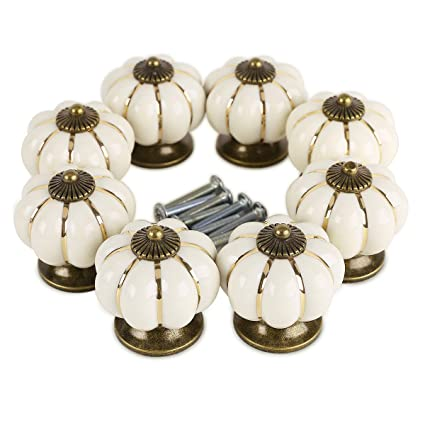 SurePromise 8X Ceramic Vintage Pumpkin Cabinet Drawer Knob Door Handle Pull  Ivory  Amazon.co.uk  DIY   Tools 5f64ed1f20c1