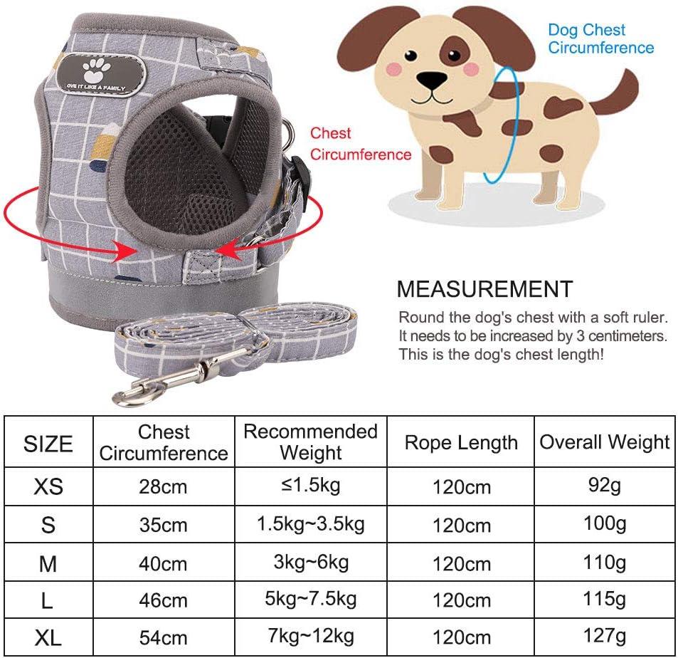 FREESOO Harnais pour Chien Chat avec R/éfl/échissant Durable Harnais Classique avec 2 Anneaux Harnais pour Animaux de Compagnie Taille XS-L Convient aux Chiots et Chiens de Taille Moyenne 1.5KG-8KG