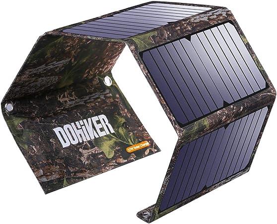 Dohiker 27W Cargador Solar portátil y Plegable con 3 Puertos USB al Aire Libre Emergencia de Campo de Viaje para Carga Multifuncional Teléfono móvil Tableta móvil Poder de Carga de Tesoro: Amazon.es: