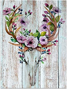 """Visual Art Decor Flowers Blossom Deer Skull Canvas Wall Decor Dual View Picture on Wood Background Prints for Bedroom Wall Decor (16""""x20"""", Deer Skull)"""
