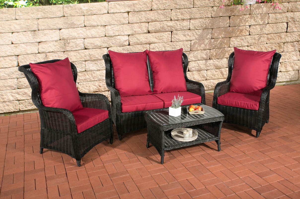 clp poly rattan garten lounge set toledo 5 mm rund geflecht alu gestell 2 sessel 2er sofa. Black Bedroom Furniture Sets. Home Design Ideas