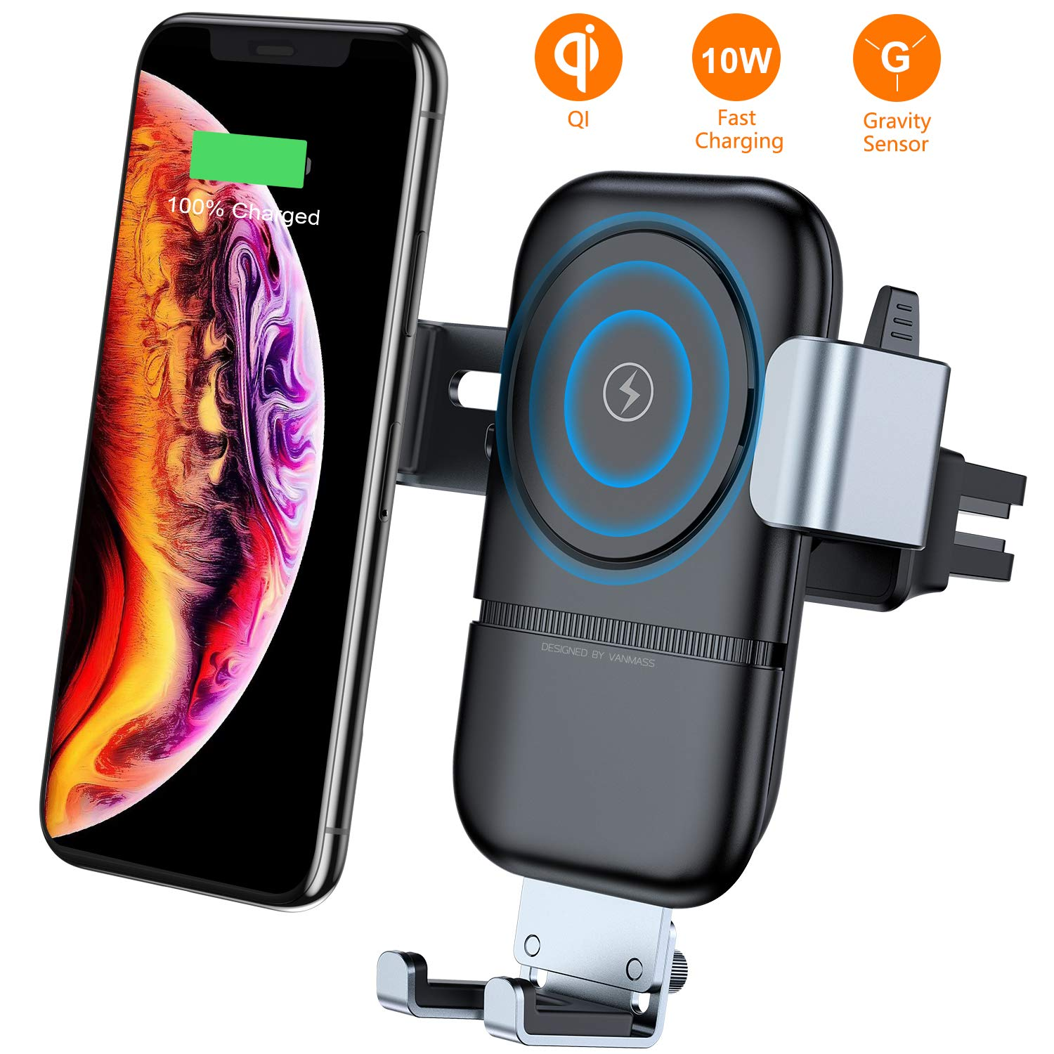 VANMASS Wireless Car Charger, Auto-Clamping Adjustable Gravity Car Mount, 10W Qi Fast Charging Air Vent Phone Holder Compatible with Samsung Galaxy Note 9/8/ S9/ S8,iPhone Xs Max/XR/X 8/8 Plus