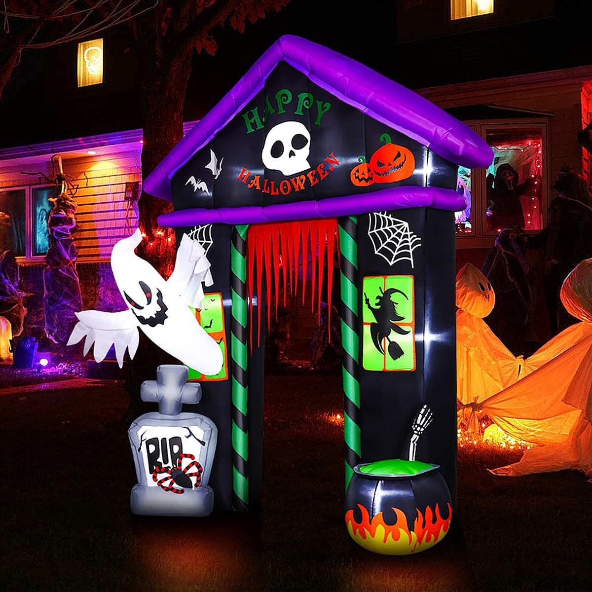 Halloween House Archway Inflatable, 9 FT Halloween Inflatable Blow Up Lighted Decor With Built-in LED Decoration for Party