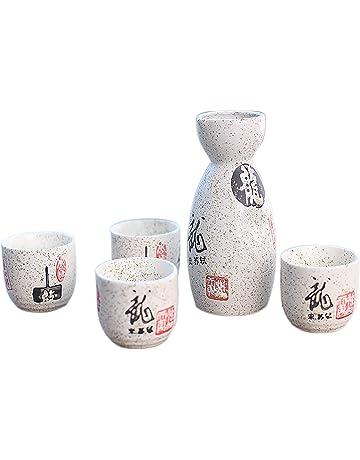Black Temptation Juego de 5 jarras de Sake Hermosas y Vasos de Vino A9