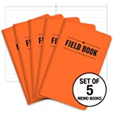 "Field Notebook - 3.5""x5.5"" - Orange - Lined Memo Book - Pack of 5"