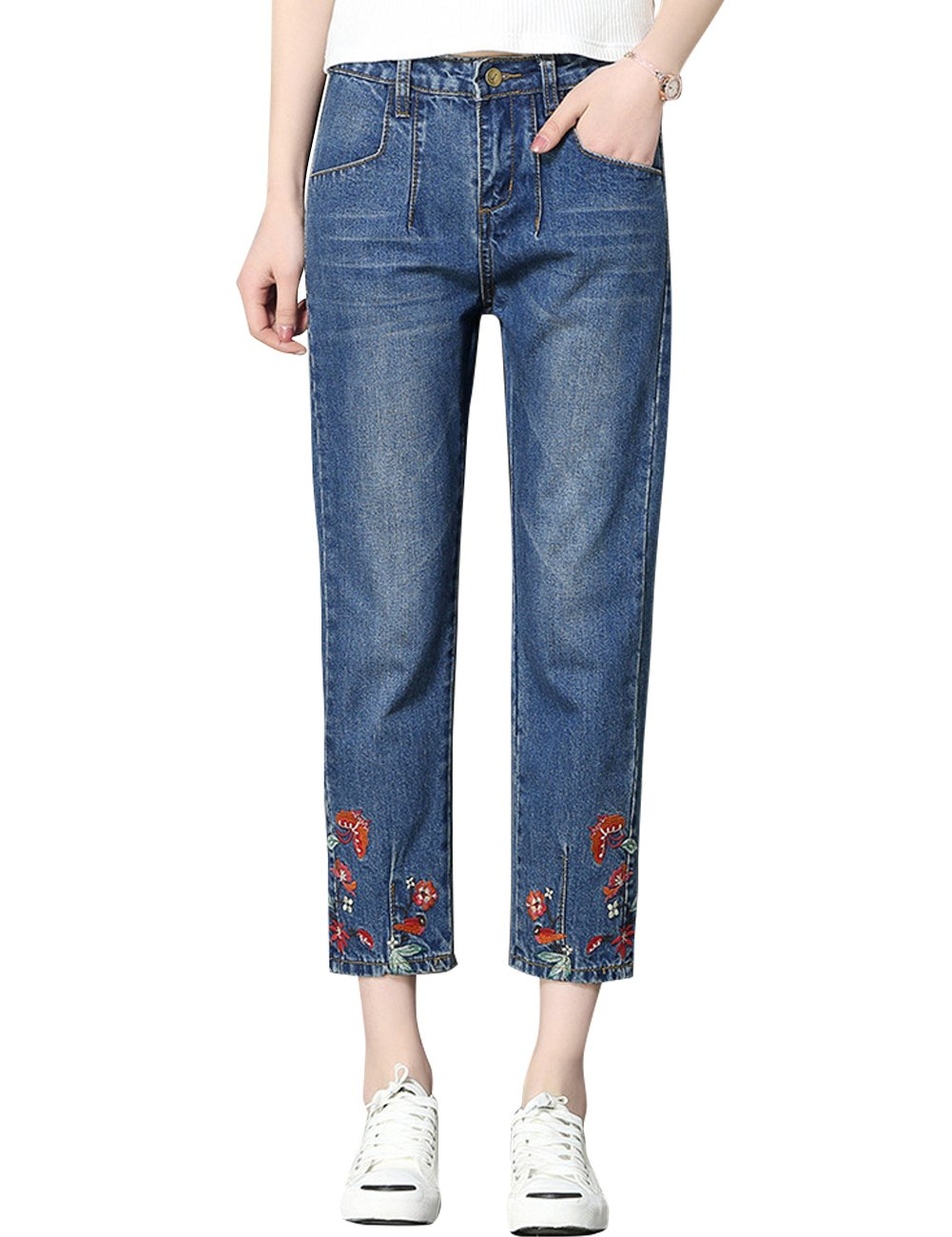 SUGIRLS Women's Straight Leg Floral Embroidery Loose Cropped Denim Pants Jeans 28