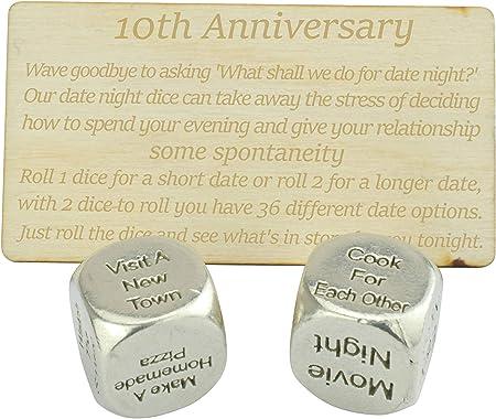 10 Year Anniversary Metal Date Dice 100 Pure Tin Create A Unique 10th Anniversary Date Idea Amazon Co Uk Kitchen Home