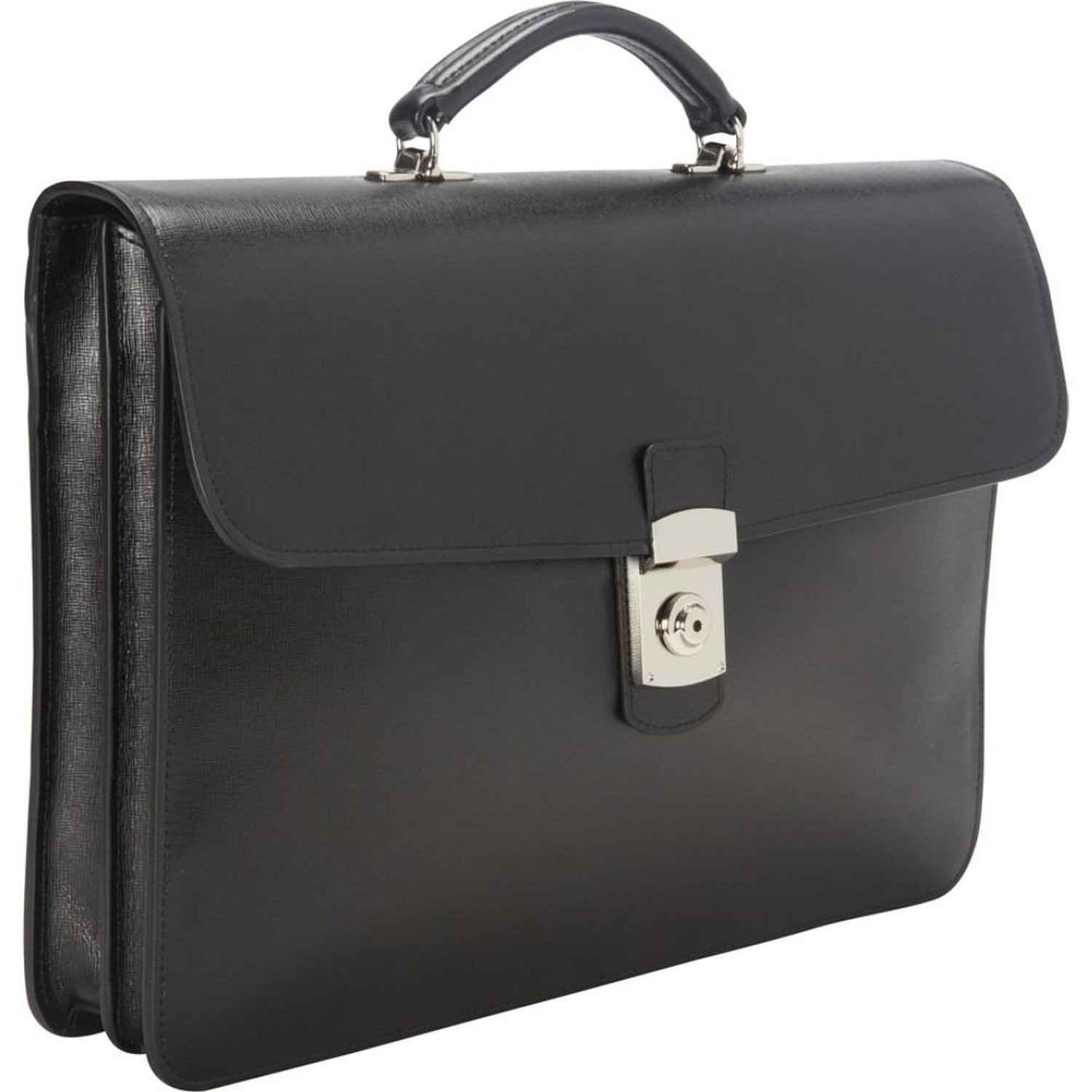 Royce Leather Luxury Slim Briefcase Handcrafted in Saffiano Leather and Suede Lining, Black by Royce Leather