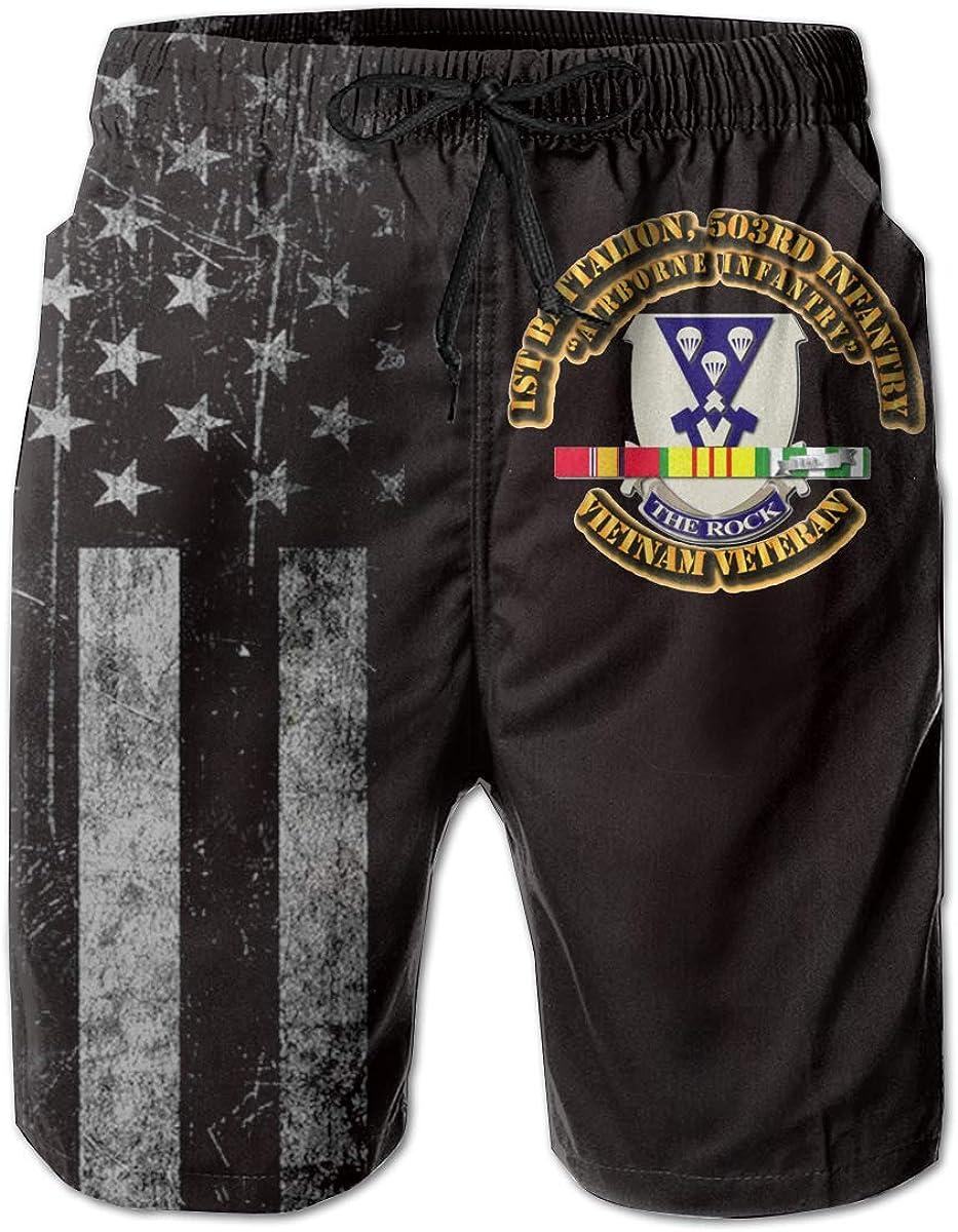 Airborne Infantry American Flag with 1st Battalion 503rd Infantry Mens Swim Trunks Beach Short Board Shorts
