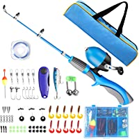 QiyuanLS Kids Fishing Pole, Portable Telescopic Fishing Rod and Reel Combo Kit with Spincast Fishing Reel Tackle Box for…