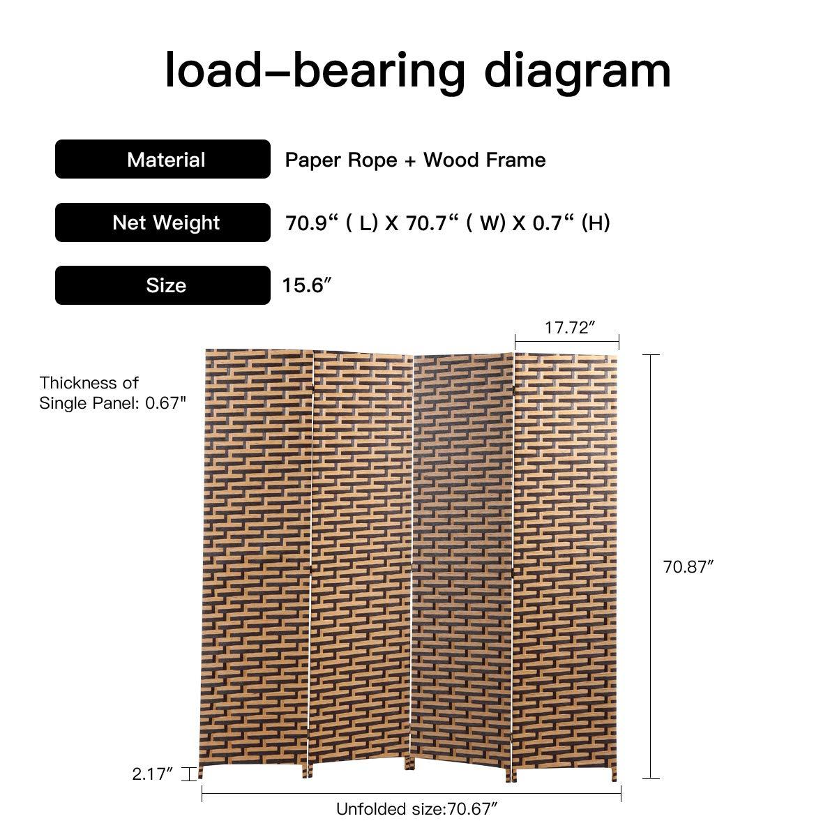 6ft Tall Folding Freestanding Privacy Screen 4-Panel Weave Fiber Room Divider for Living Room Bedroom Dining Room