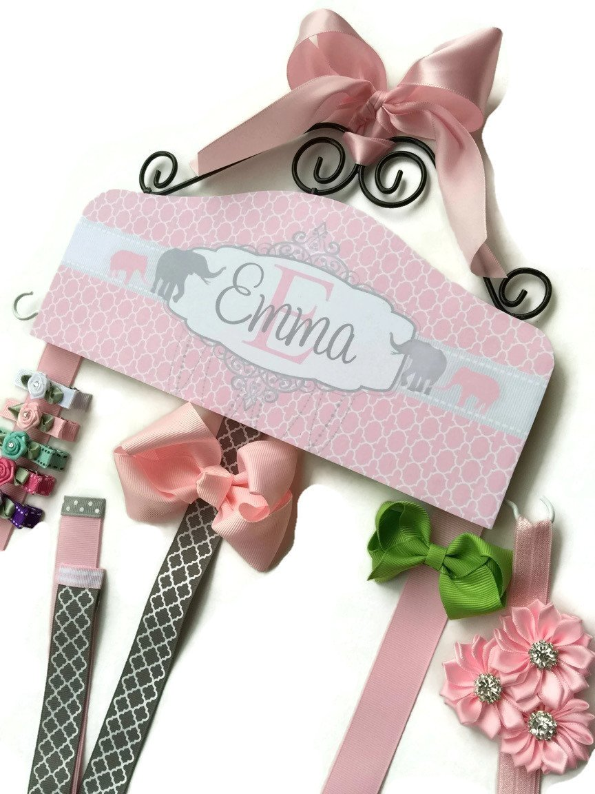 Personalized Hair Bow Holder-Pink Elephant
