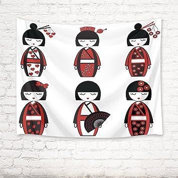EOB Tapisserie Wandbehang,Japanische Weibliche Puppen Von Der Asiatischen  Kultur Inspiriert Kunstdruck Tapisserie