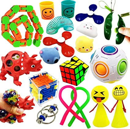 Kids and Adults Stress and Anxiety Relief Gadgets with Infinity Cube Therapeutic Toys for Autism ADHD and Other Special Needs Sensory Tools Fidget Toy Set 22 Pcs Bundle Stretchy String and More