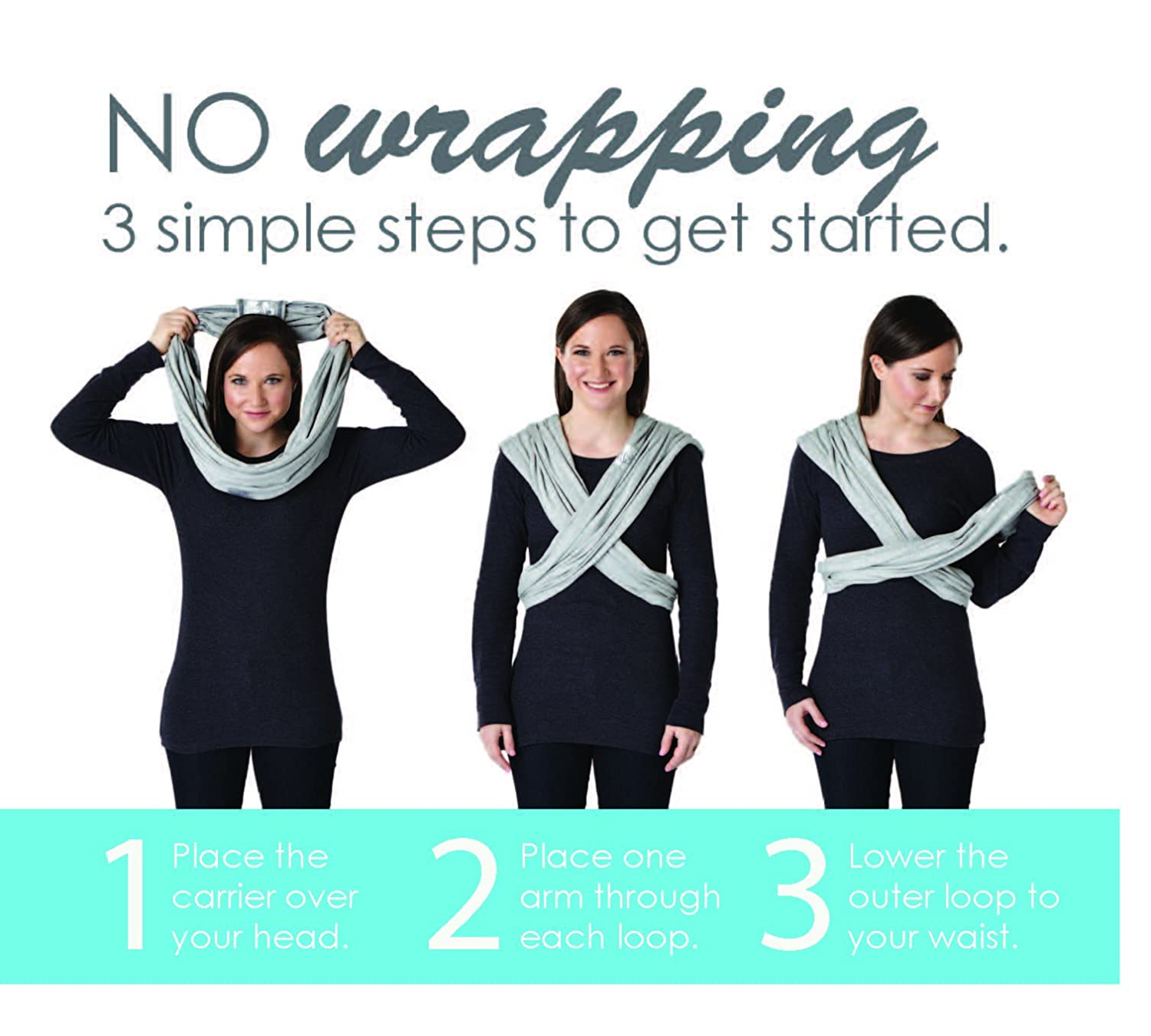 Infant and Child Sling XXS Best for Babywearing , Black Baby K/'tan Original Baby Wrap Carrier Newborn up to 35 lbs Women up to 0