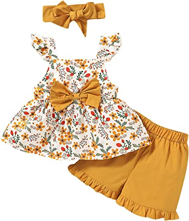 3Pcs Toddler Baby Girls Cami Strap Ruffle Tops Floral Dress Headband Outfit Set