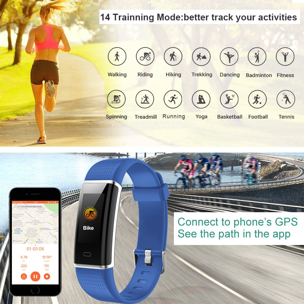Willful Fitness Tracker, Heart Rate Monitor Fitness Watch Activity Tracker(14 Modes) Pedometer with Step Counter Sleep Monitor Call SMS SNS Notice for Women Men Kids (Color Screen,IP68 Waterproof) by Willful (Image #3)
