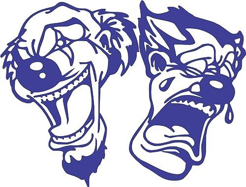 Happy Sad Clown Jester Joker Laugh Now Cry Later Clown Masks Car Truck Window Laptop Vinyl Decal Sticker