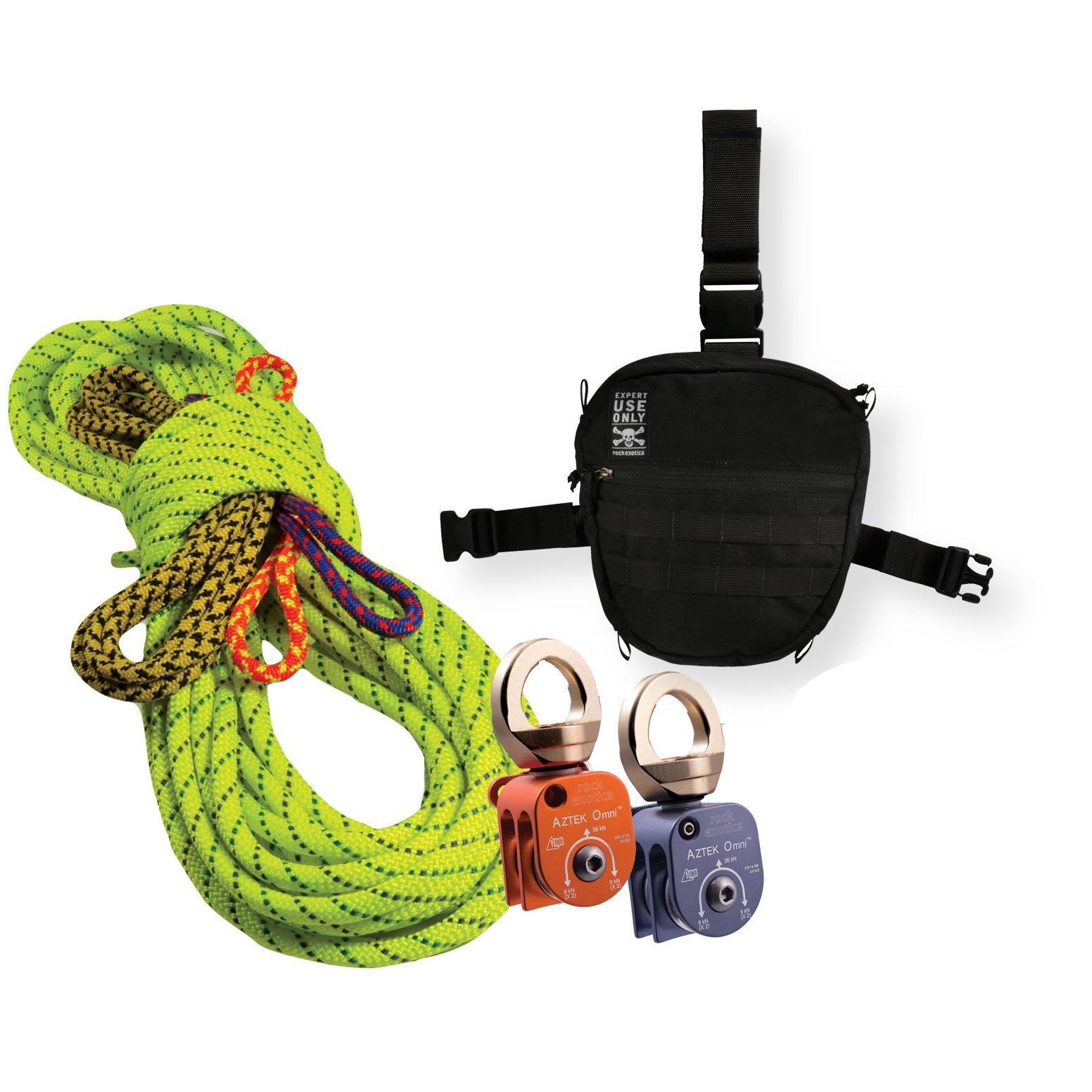Rock Exotica Aztek Pulley Pro Kit P41KITPRO Plus 2 FREE Auto Bilock Carabiners