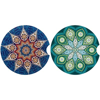 "Pack of 2, CoxFox Car Coasters for Cup Holders Absorbent,2.6"" Stone Auto Cupholder Absorbent Coaster Set (Blue+Green, 2.6""): Kitchen & Dining"