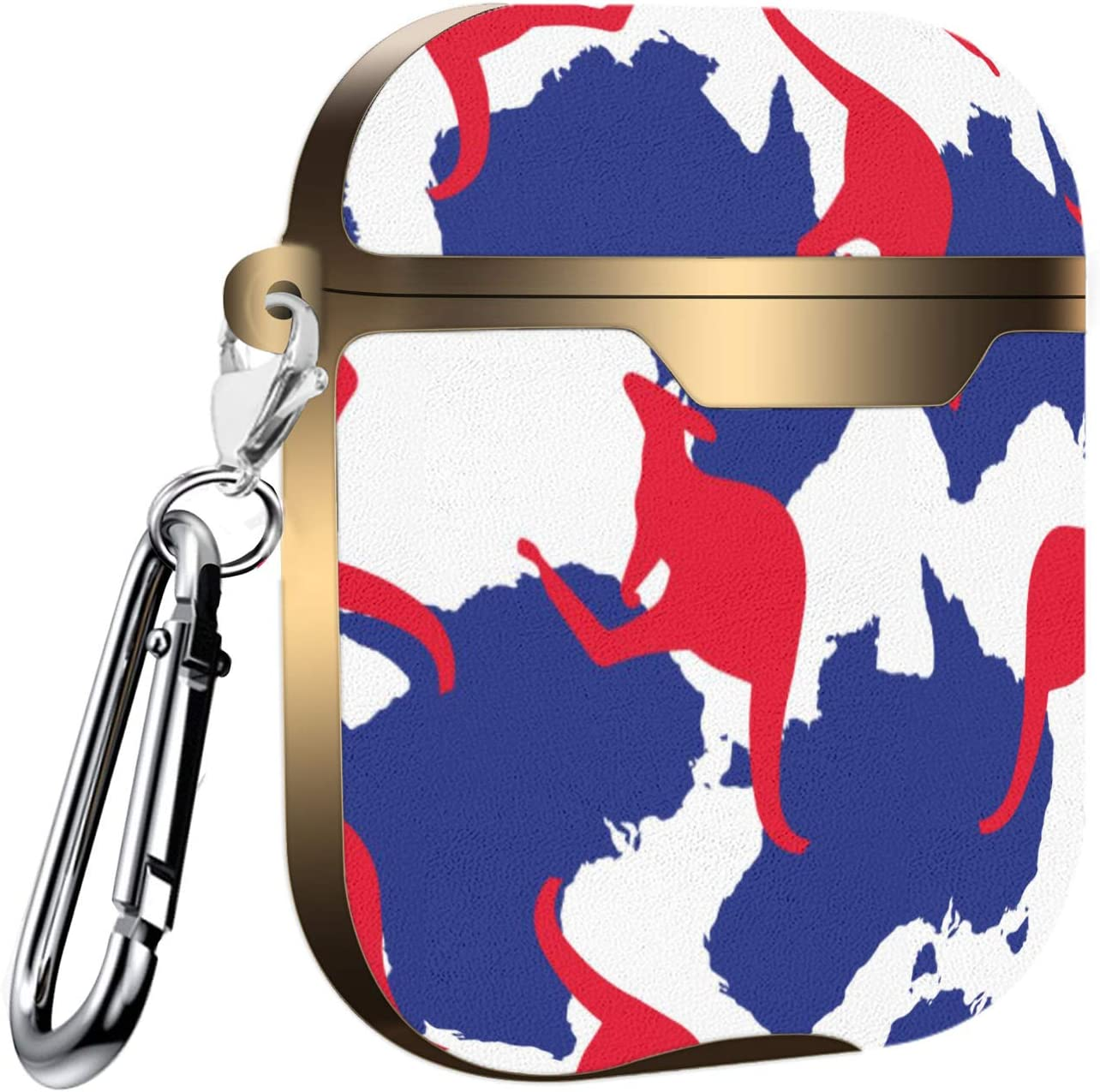 Slim Form Fitted Printing Pattern Cover Case with Carabiner Compatible with Airpods 1 and AirPods 2 Pattern of Australia Map and Kangaroo