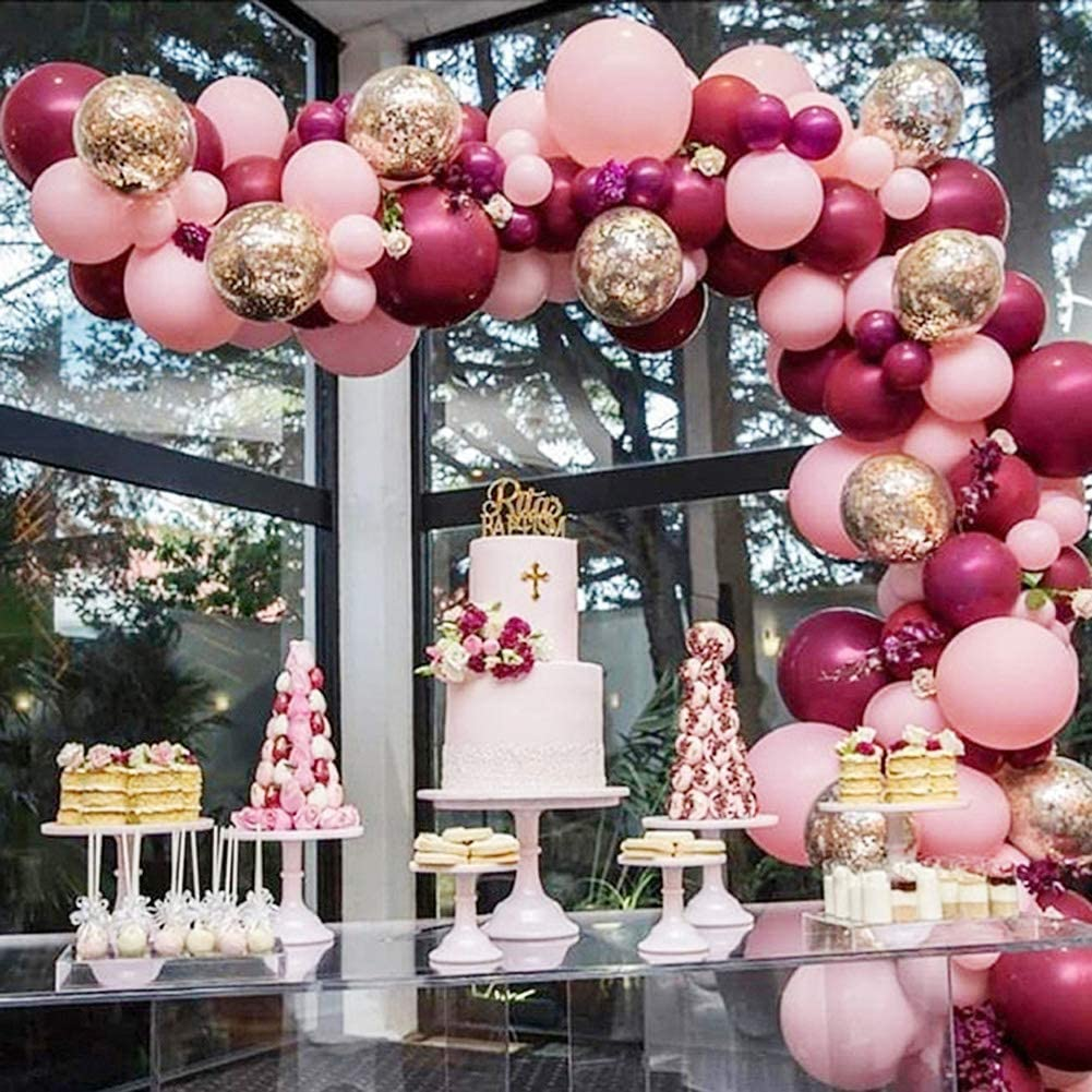 Burgundy Balloons Pink Gold Confetti Balloons Garland Kit 100 pcs Burgundy and Gold Birthday Party Decorations Burgundy Wedding Decorations Wine Red Baby Shower