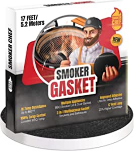 Smoker Chef Smoker Gasket – 17 FT Long High Temp Seal Grill Gasket – 0.6'' Wide 0.2'' Thick Self Stick Black Nomex Tape Gasket for Smokers and BBQ Lid