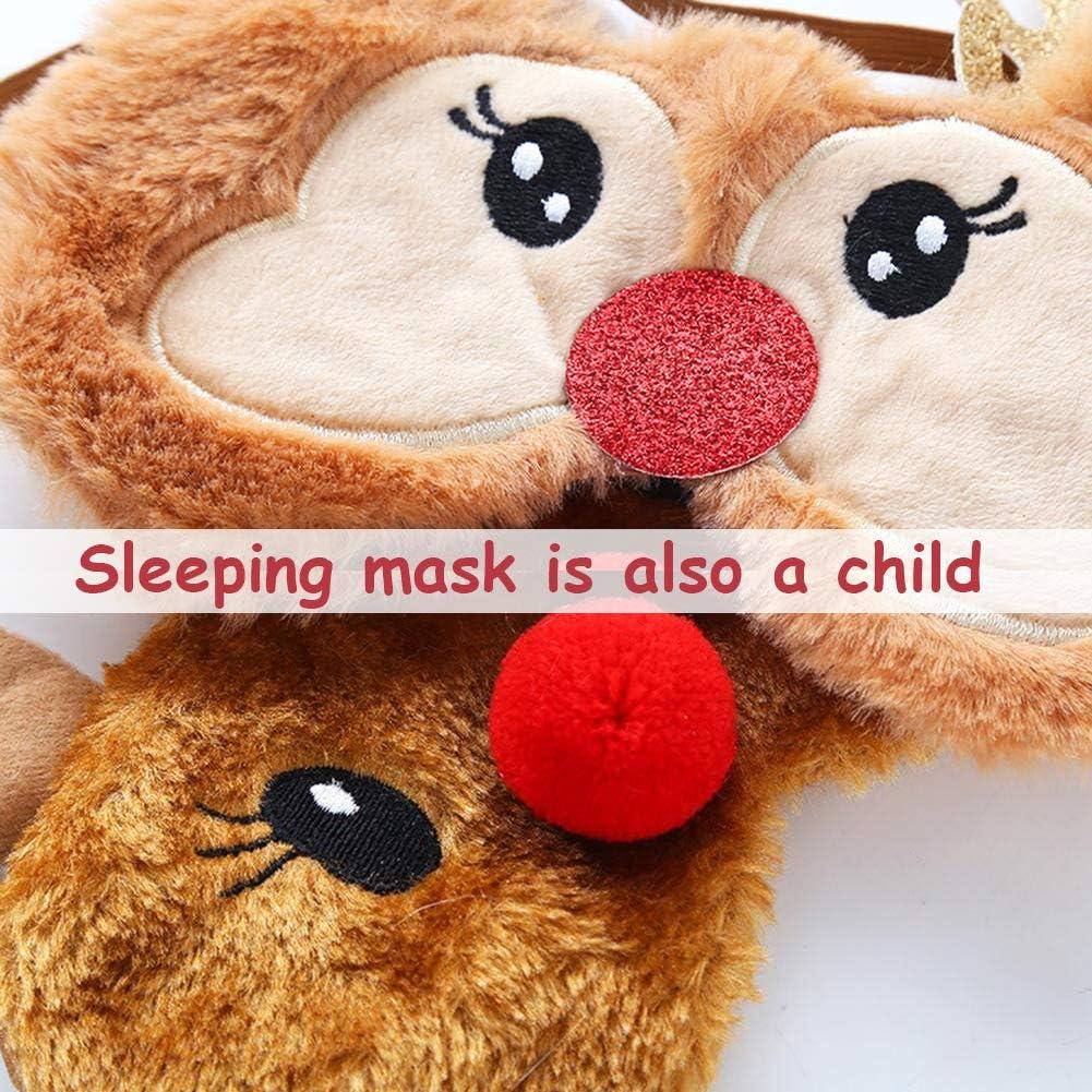 Masque de Sommeil BESTZY Masque de Nuit No/ël 2 pi/èces Masque de Sommeil en Peluche pour Voyage Mignon Femme Enfant