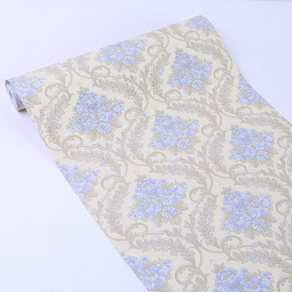 Blue Damask Contact Paper Decorative Self Adhesive Shelf Drawer Liner Peel and Stick Wallpaper for Kitchen Cabinets Drawers Countertops Windows Crafts 17.7'' x 393''
