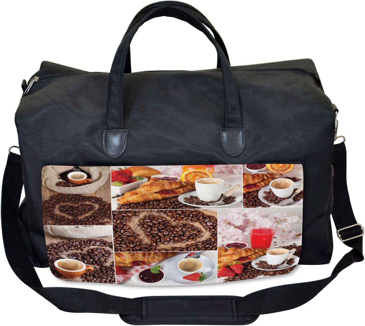 Croissant and Coffee Large Weekender Carry-on Ambesonne Coffee Gym Bag