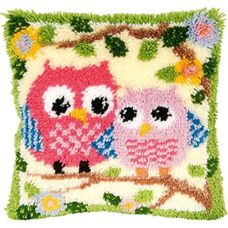 Owl Printed Canvas Latch Hook Rug Kit Everything included Rug Making