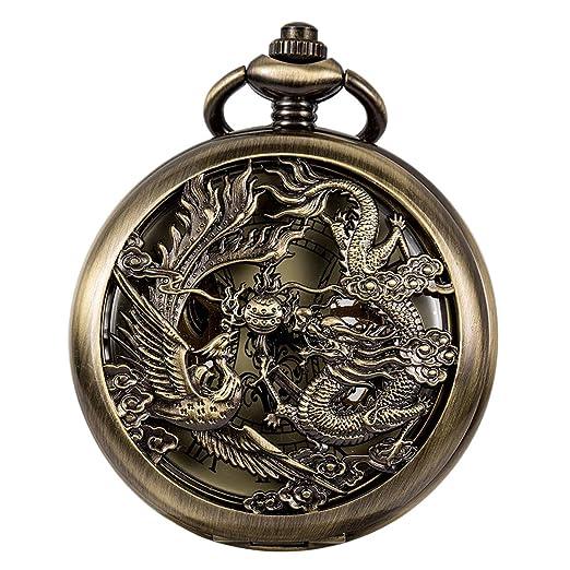 5ac015ee9c92 ManChDa Antiguo Negro Hunter Números Romanos Dragon y Phoenix Reno Patrón  Hueco Mecánico Reloj de