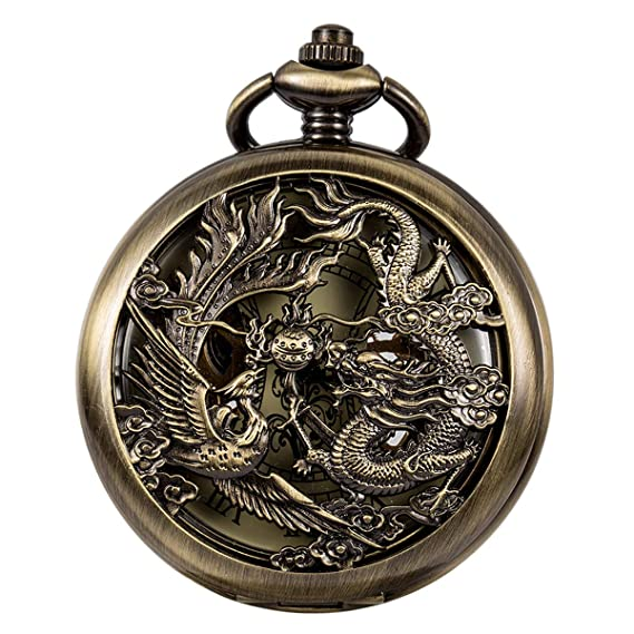 ManChDa Antiguo Negro Hunter Números Romanos Dragon y Phoenix/Reno Patrón Hueco Mecánico Reloj de
