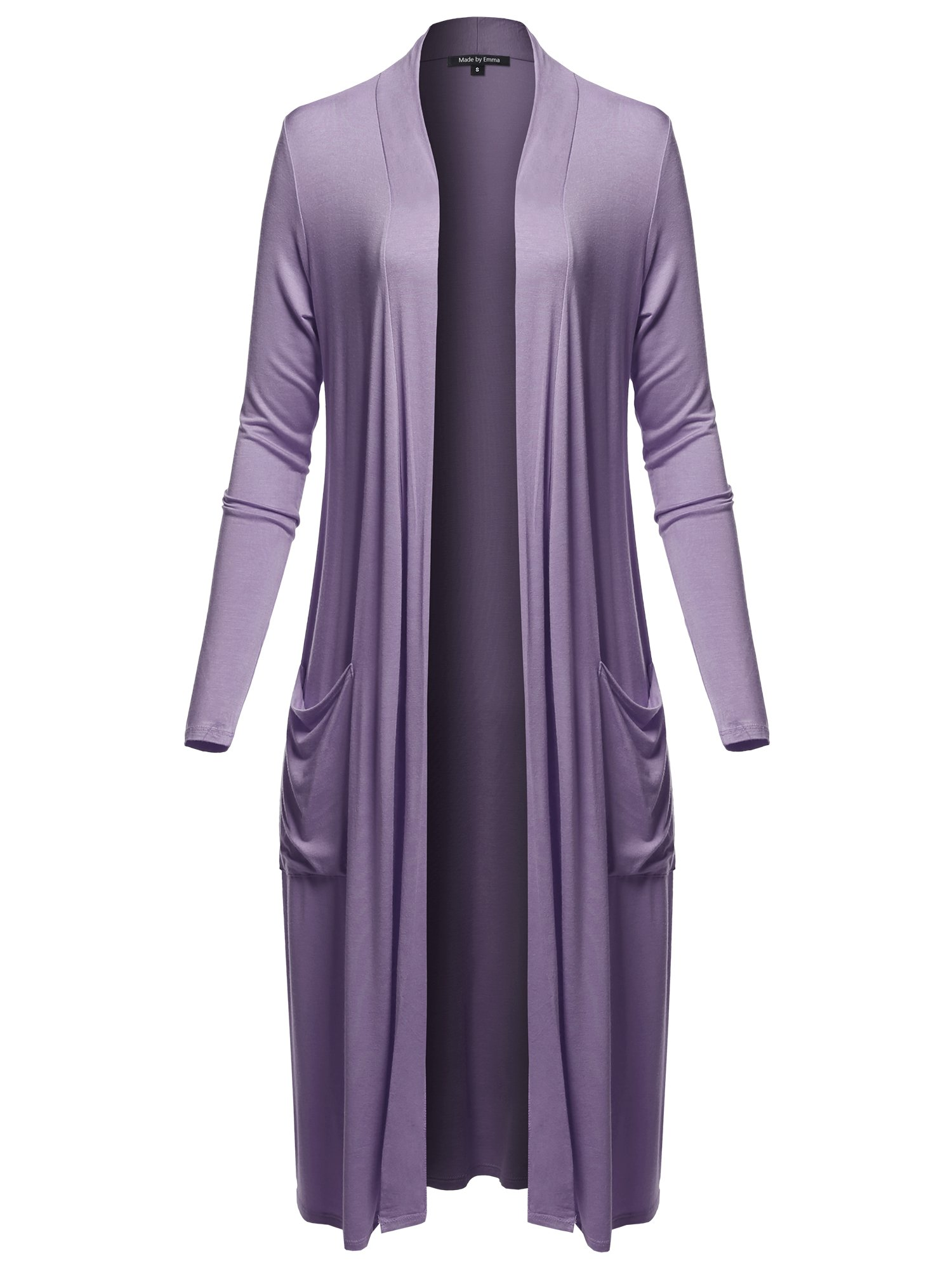 Made by Emma Long Sleeve Side Pockets Midi Length Open Front Cardigan Lilac XL