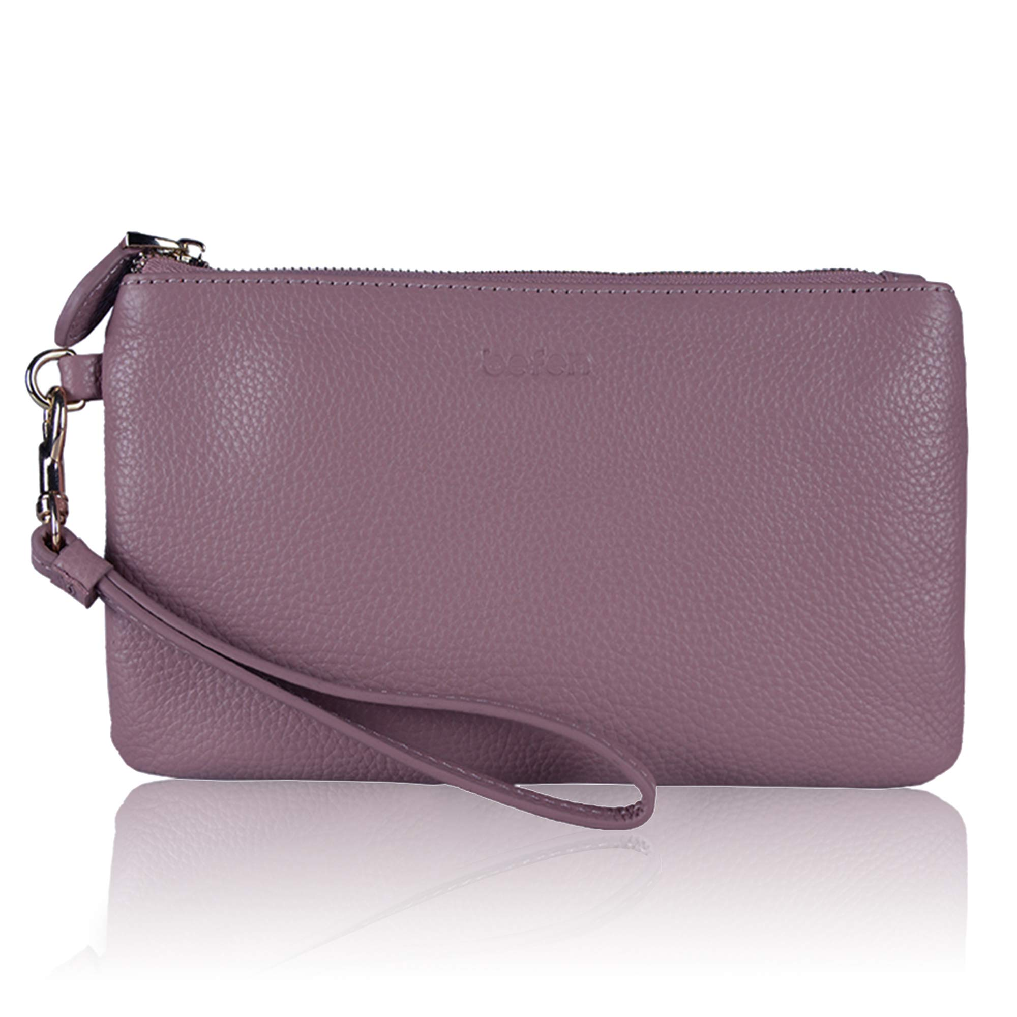 Befen Women Genuine Leather Clutch Wallet Smartphone Wristlet Purse - Fit iPhone 8 Plus (Purple Pink)