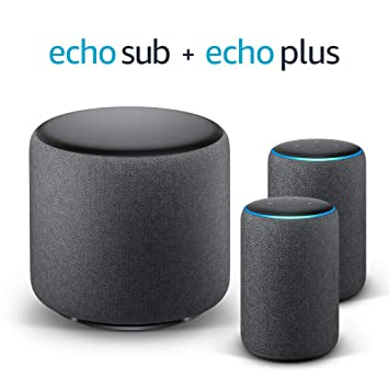 Echo Plus Stereo System – 2 Echo Plus (2.ª generación), Tela de color negro + 1 Echo Sub