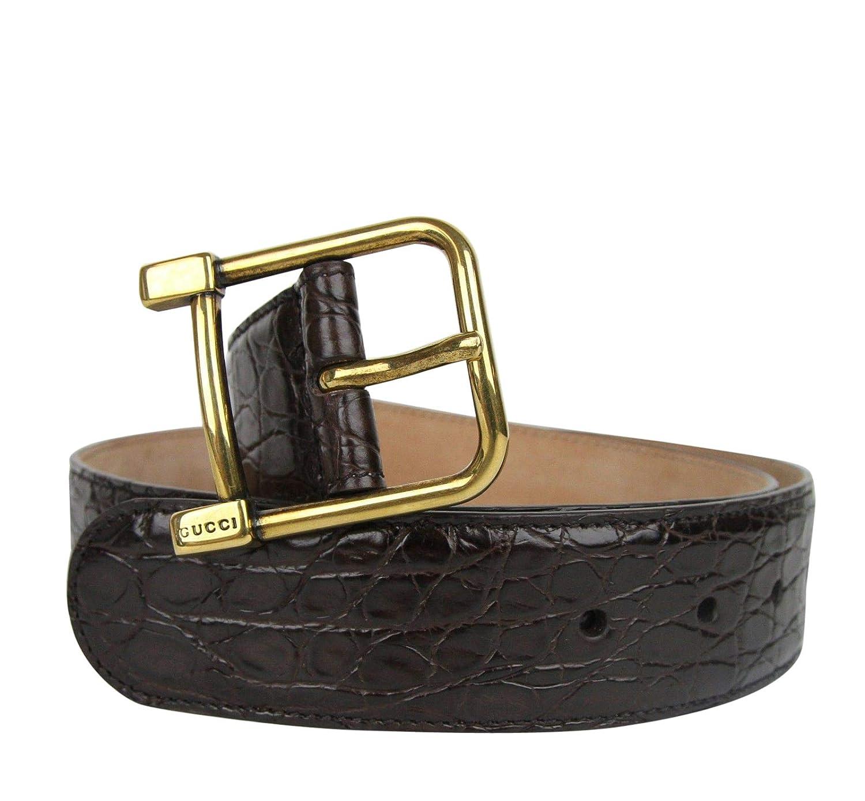 bd9c69f4b81 Amazon.com  Gucci Women s Gold Square Buckle Dark Brown Crocodile Belt  257319 E7I0T 2140  Clothing