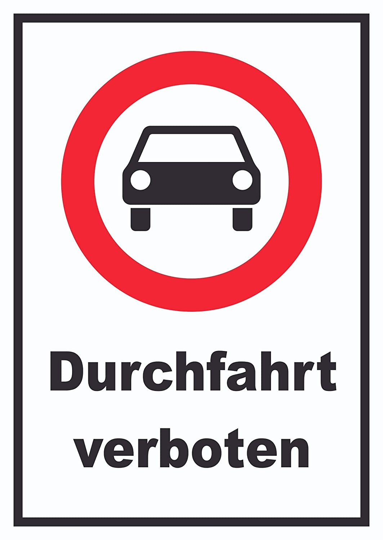 durchfahrt Prohibido Símbolo de automóviles Cartel, A2 ...